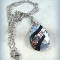 Abalone Necklace - One of a Kind Abalone Pendant - OOAK Necklace with Tear Drop Abalone Pendant - Rhodium Chain