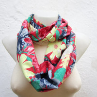 infinity scarf Loop scarf Neckwarmer Necklace scarf Fabric scarf  Red Yellow Blue Green