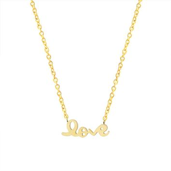 Romantic Metal Script Letter Love Necklaces Women Wedding Jewelry Gift Stainless Steel Charm Chain Tattoo Choker Necklace Bijoux