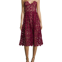 Self Portrait Azaelea Guipure-Lace Illusion Dress, Burgundy