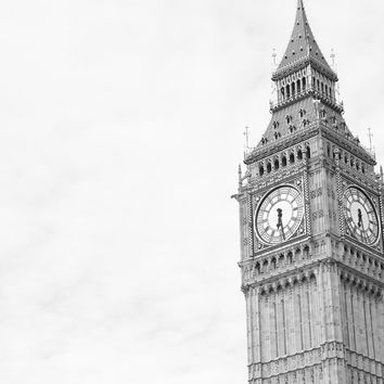 Big Ben London England Black and White Fine Art Photography Print
