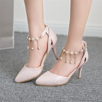 Pointed Toe Rhinestone Pearl Spike Heel Sandals 6552