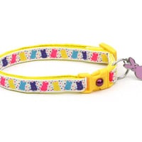 Easter Cat Collar - Bright Easter Bunny Balloons - Kitten or Large Size