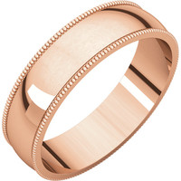 10k Rose-Pink Gold 5mm Light Milgrain Wedding Band Ring - Bridal Jewelry: RingSize: 00