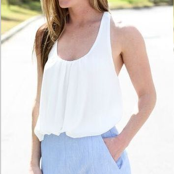 Casual Sleeveless Double Layer Ruffle Mesh Back Shirt