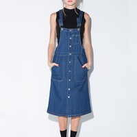 Denim Overall Suspender Midi Dress
