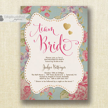 Team Bride English Rose Bachelorette Party Invitation Glitter Heart Vintage Chic Rustic Bridal Hen Lingerie DIY Printable or Printed- Jaclyn