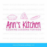 OOAK Premade Logo Design - Food Doodles - Perfect for a cooking school for children