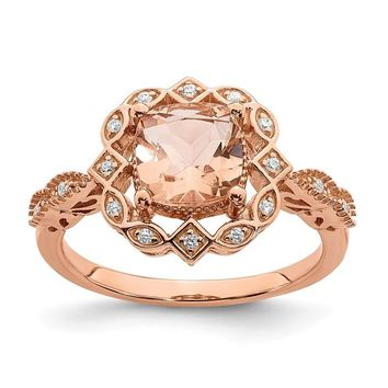 14k Rose Gold Morganite Diamond Halo Engagement Ring
