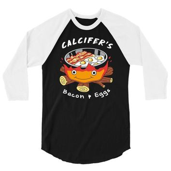 calcifer's bacon and eggs 3/4 Sleeve Shirt