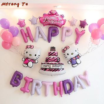 34pcs/lot Hello Kitty birthday party balloons 16inch letter foil balloons for baby shower 1st girl birthday party Decoration