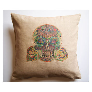 "Tattoo Skull Pillow Cover 17"" Square Day of the Dead Accent Pillow Sham. Home Decor Zippered Gothic Tattoo Rockabilly throw Cushion Cover"