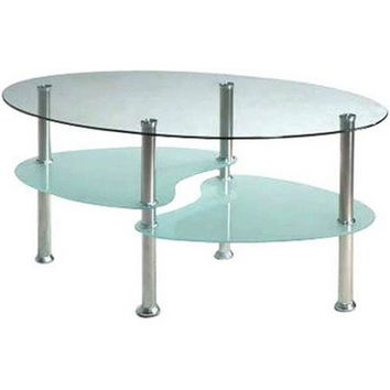 Hodedah Oval Glass 3-Tier Coffee Table, Multiple Colors - Walmart.com