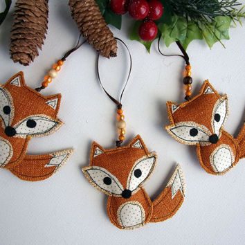 Fox Christmas Ornament. Fabric Fox Christmas Tree Woodland Decoration Fox Ornaments Fox Decoration Stocking Stuffers Kids Children Fox Gift