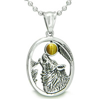 Amulet Courage Howling Wolf Tiger Eye Moon Pendant 18 Inch Necklace