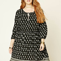 Plus Size Floral Self-Tie Dress