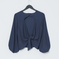 Back Crush Blouse Top - Graphite Gray