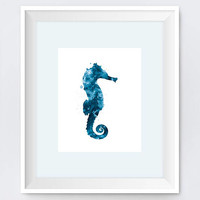 Seahorse, Art Print, Sea horse, Home Decor, Sea Life, Painting, Nautical, Wall Art, Blue, Water, Watercolor, Gift, Underwater, Download