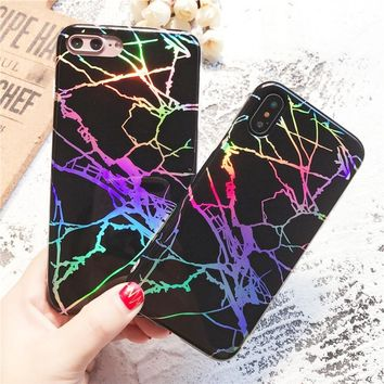 Personality Colorful Laser Marble Phone Case Casual All-match Soft TPU Granite Texture Back Cover for IPhone X 6 6s 7 8 Plus