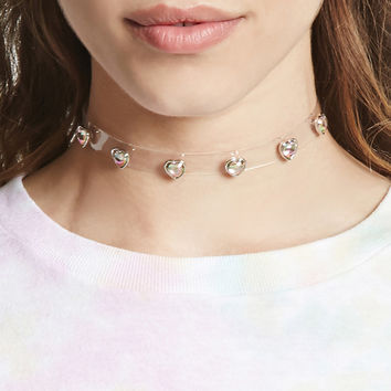 Heart Studded Clear Choker - Accessories - 1000085879 - Forever 21 Canada English