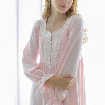 New Autumn Pink Sexy Long Sleep Lounge Cotton Sleepwear Female Home Dress Lace Princess Vintage Nightgown Women Sleeping Dress