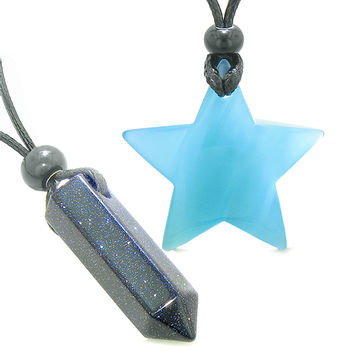 Amulets Lucky Crystal Point and Magic Star Love Couples Blue Goldstone Sky Blue Cats Eye Charms Necklaces