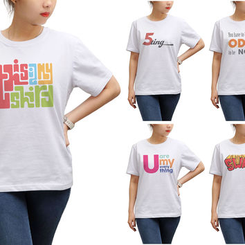 Women Retro Positive Quote Printed Round Neck Short Sleeves T- Shirt WTS_17