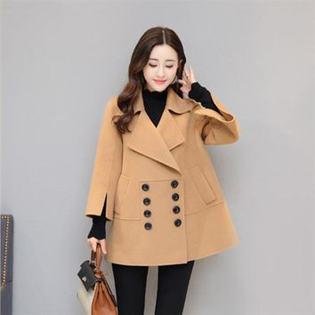 2017 Warm Winter Coat Women Turndown Coat Collar Overcoat Female Casual Autumn Outerwear Casaco Feminino LF40-111