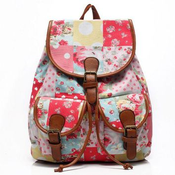 Day-First™ Cute Sweet Travelling Bag College School Bag Canvas Backpack Daypack