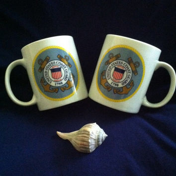 Coast Guard Mugs Vintage US Coast Guard Military Semper Paratus Crest Seal Emblem Anchor Ceramic Coffee Mugs Set of 2 Mugs Coast Guard Logo