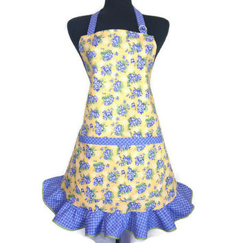 Retro Kitchen Apron for Women ,  Purple Flowers on Yellow with Purple Ruffle
