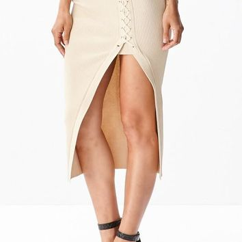Side Laced Knit Midi Skirt