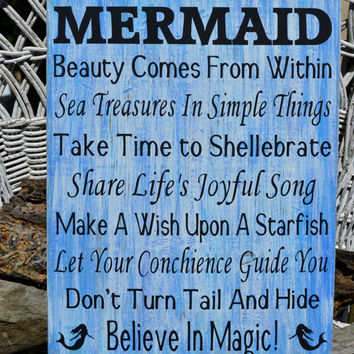 Advice From A Mermaid, Beach Decor, Beach Theme, Mermaid Decor Sign, Beach House Decor, Ocean, Hand Painted Wood Sign