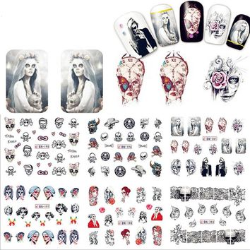 1 Sheet Halloween Nail Art Water Decal Skull Bone Manicure Nail Art Transfer Sticker