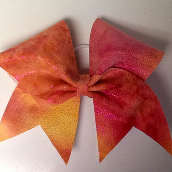 Coral, pink, orange tie dye.cheer bow