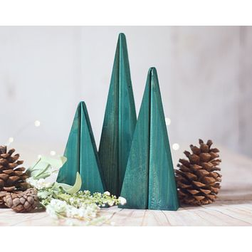 Green Christmas Trees, Wooden Trees