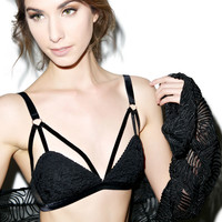 Pink Lipstick Sneak A Peak Lace And Fishnet Bra Set Black
