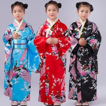 Girls Imitated Silk Peacock Floral Maxi Japanese Kimono Long Dress Robe Costume Set for Children Clothes Cosplay Clothing Wear