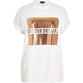 RI Plus white dreams print boyfriend tee - print t-shirts / vests - t shirts / vests - tops - women