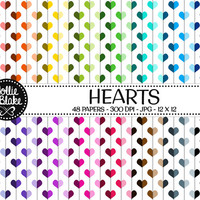 50% off SALE!! 48 Hearts Digital Paper • Rainbow Digital Paper • Commercial Use • Instant Download • #HEARTS-101-1