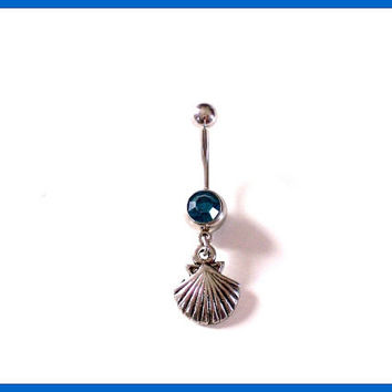 Sea Shell Belly Ring with Blue Rhinestone Body Jewelry
