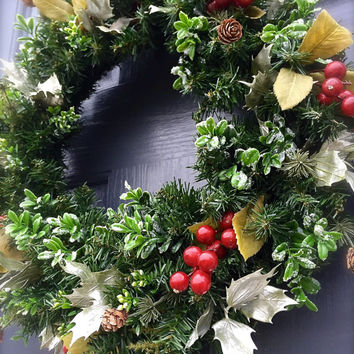 Small Christmas Wreaths Classic Holiday Wreaths Door Decor Green Berry Wreath