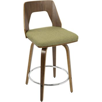 Trilogy Mid-Century Modern Counter Stool, Walnut Wood & Vintage Green Fabric