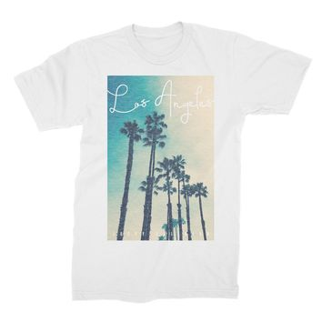 Los Angeles Palms Vintage Summer Collection Print White Shirt