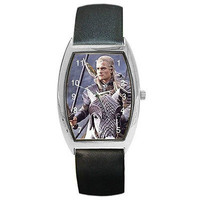 "Legolas from "" Lord of the Rings "" on Silver Barrel Watch w/ Leather Band.."