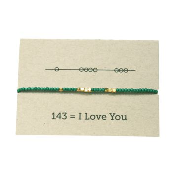 I Love You 143 Friendship Bracelet - Emerald
