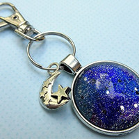 Antiqued Silver-Tone Galaxy Glitter Glass Keychain Moon and Star Charm