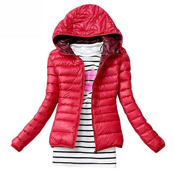 Women Jacket Coat Female Slim Hooded
