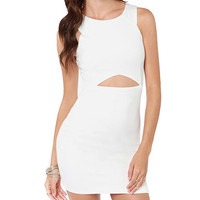 White Sleeveless Cut-Out Mini Dress