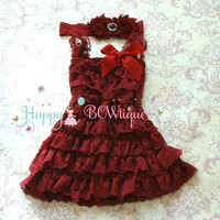 Baby Girl's Dress/ Girl's Lace Burgundy Dress set